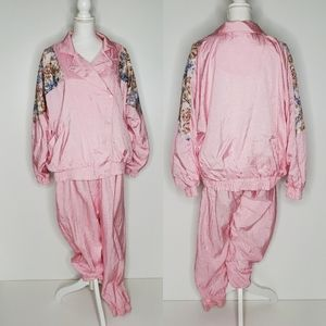 80's Vintage Pink Sweatsuit Lined Metro Active XL